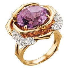 Ring Yellow Gold Amethyst 7.10 Carat Diamonds