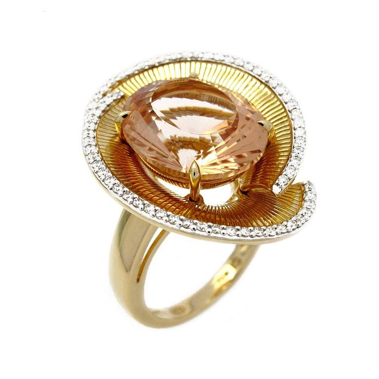 Ring Yellow Gold Morganite 7.00 Carat and Diamonds 0.33 Carat