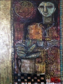 """Devi, Oil on Canvs, Red, Maroon, Black by Modern Indian Artist """"In Stock"""""""