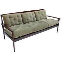 Rino Levi 1960s Brazilian Jacaranda Wood Sofa in Green Mohair