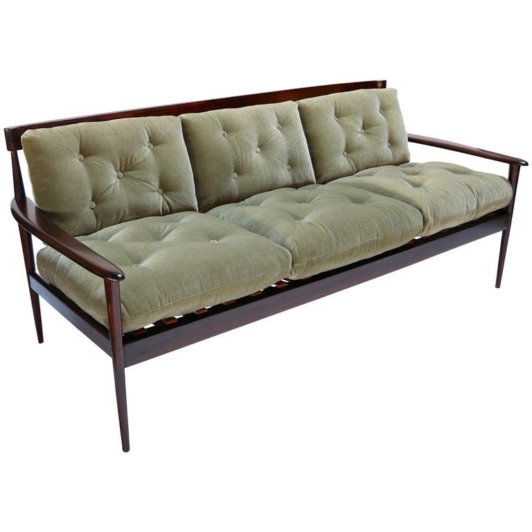 Rino Levi 1960s Brazilian Jacaranda Wood Sofa in Green Mohair For Sale