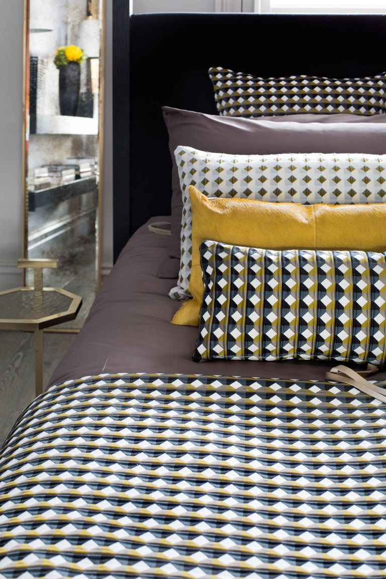 Cotton Rio Pattern Cushion Curvature Collection Inspired by Brazilian Architecture For Sale