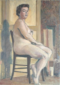1950's Oil Painting of Female Nude Seated