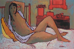 Female Figure in Bed, Oil on Canvas Painting, Late 20th Century