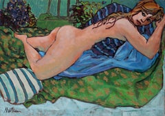 Figure with Blue and Green, Oil on Canvas, Late 20th Century