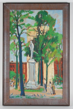 """New York"" Washington Square Park Scene in Oil, 1969"