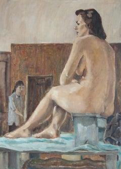 Nude Female Figure Model in Art Studio, Oil on Canvas Painting, 1957