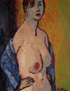 Nude Woman with Earrings, Oil on Canvas, Late 20th Century