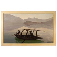 Ripamonti 20th Century Oil on Canvas Italian Signed View of Como Lake Painting