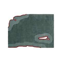 Contemporary Irregular Rug 'Ripped' in Green and Red