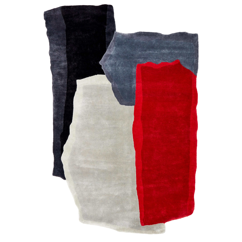 Ripped Teared Colored 2, Hand Knot, 60 Kpi, Wool & Viscose, Joost Van Bleiswijk