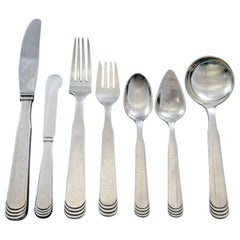 Ripple by Hans Hansen Danish Sterling Silver Flatware Set Service 87 Pcs Dinner