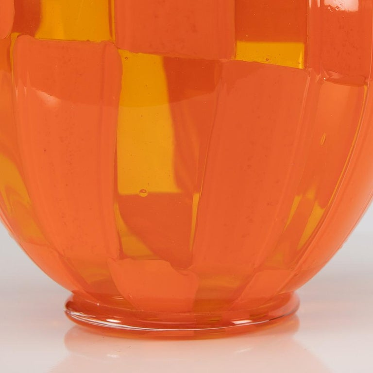 Late 20th Century Riquadri Vase Clear and Opaque Orange, Barovier Et Toso For Sale
