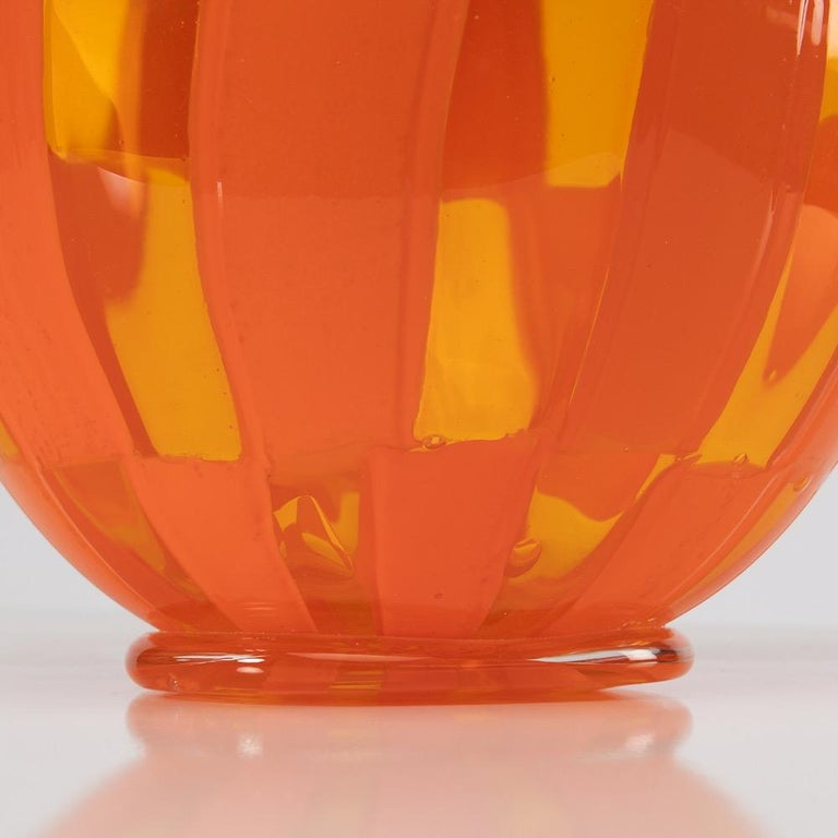 Riquadri Vase Clear and Opaque Orange, Barovier Et Toso For Sale 1