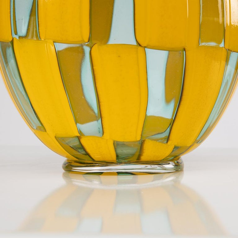 Modern Riquadri Vase Azur Yellow, Barovier e Toso For Sale