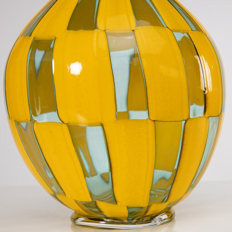 European Riquadri Vase Azur Yellow, Barovier e Toso For Sale