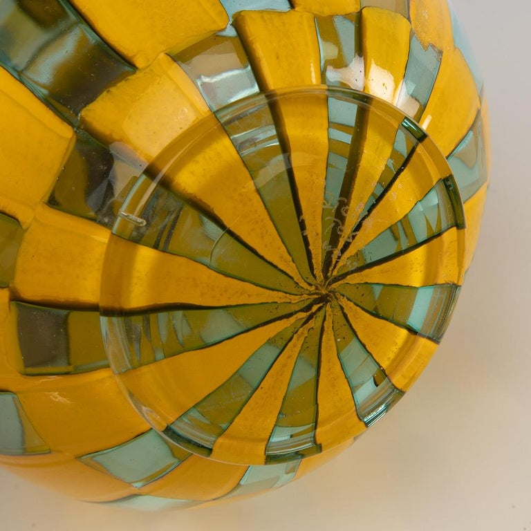 Riquadri Vase Azur Yellow, Barovier e Toso In Good Condition For Sale In Brussels, BE