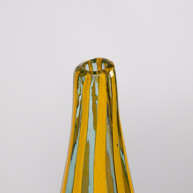 Blown Glass Riquadri Vase Azur Yellow, Barovier e Toso For Sale