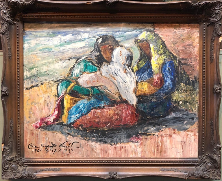 Romanian Israeli Modernist Oil Painting Expressionist Figures Mothers and Babies - Brown Figurative Painting by Risa Propst Kraid