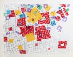 City 132, Geometric Serigraph by Risaburo Kimura