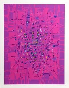 City 179, Geometric Serigraph by Risaburo Kimura