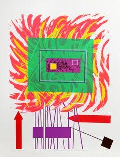 City 191, Geometric Serigraph by Risaburo Kimura