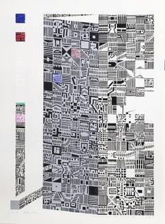 City 84, Geometric Serigraph by Risaburo Kimura