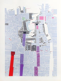City 85, Geometric Serigraph by Risaburo Kimura