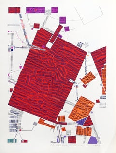 City 88, Geometric Serigraph by Risaburo Kimura