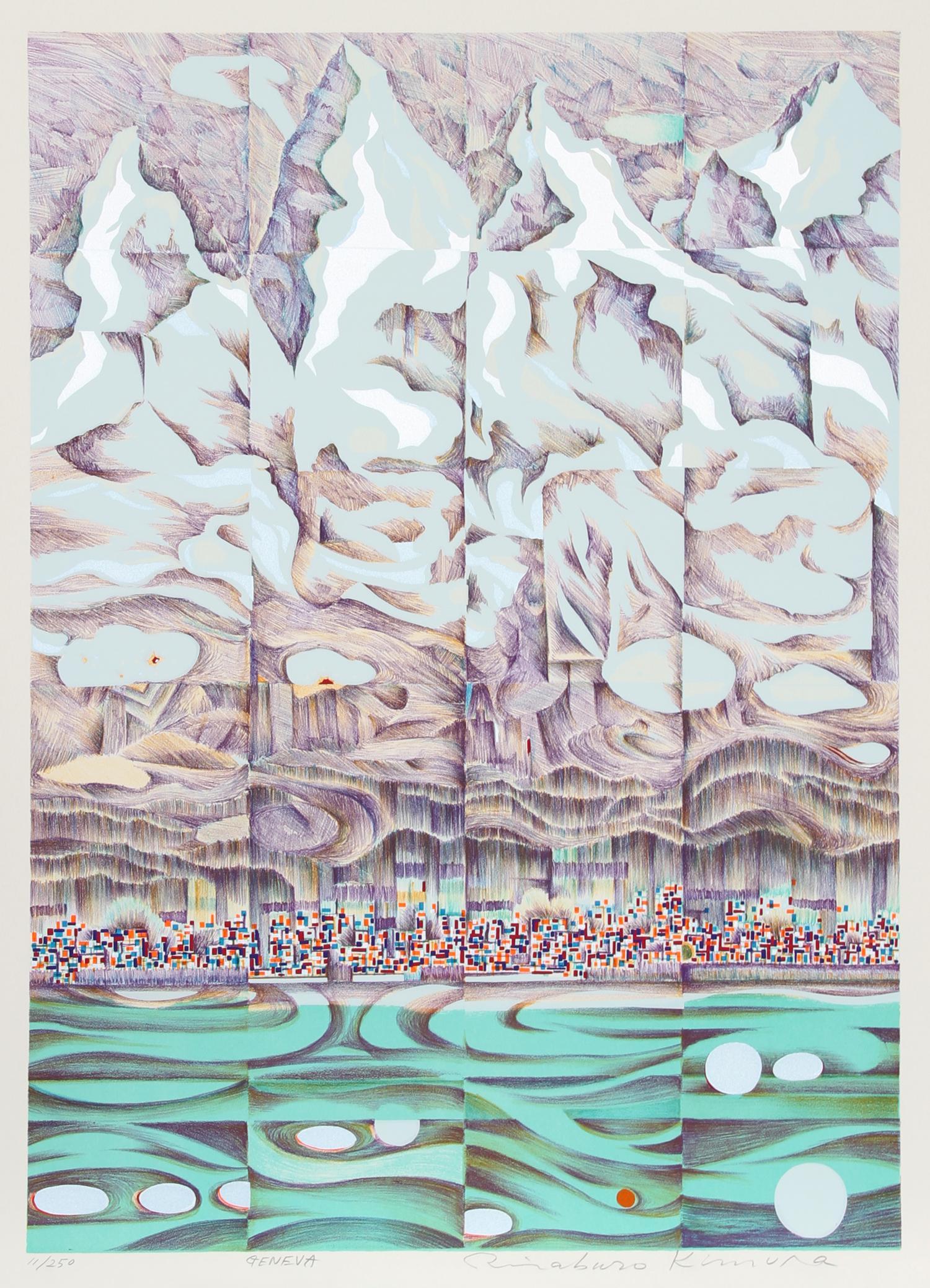 Geneva, 1973 Silkscreen by Risaburo Kimura