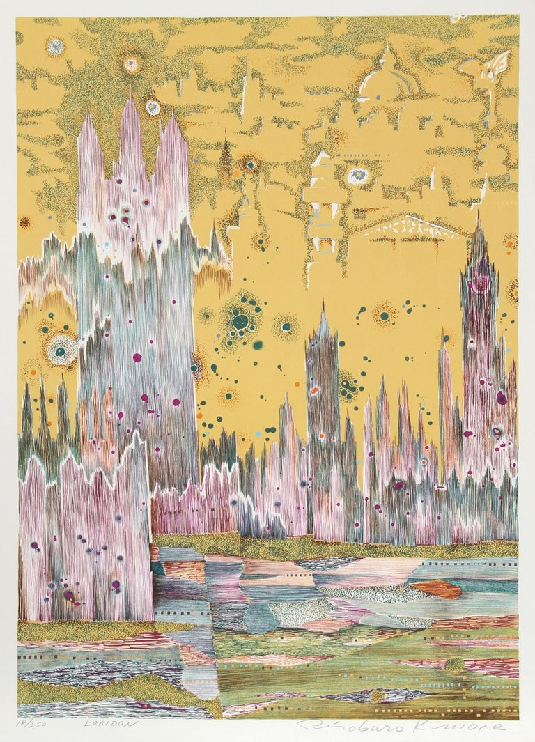 Artist: Risaburo Kimura, Japanese (1924 - ) Title: London Year: 1973 Medium: Silkscreen on BFK Rives, Signed, titled and numbered in pencil Edition: 250, AP 20 Size: 30 in. x 22 in. (76.2 cm x 55.88 cm)   Printer: Shorewood Atelier Publisher: