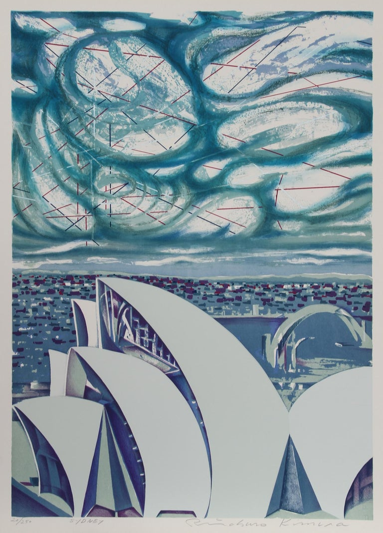 Artist: Risaburo Kimura, Japanese (1924 - ) Title: Sydney Year: 1973 Medium: Silkscreen on BFK Rives, Signed, titled and numbered in pencil Edition: 250, AP 20 Size: 30 in. x 22 in. (76.2 cm x 55.88 cm)  Printer: Shorewood Atelier Publisher: