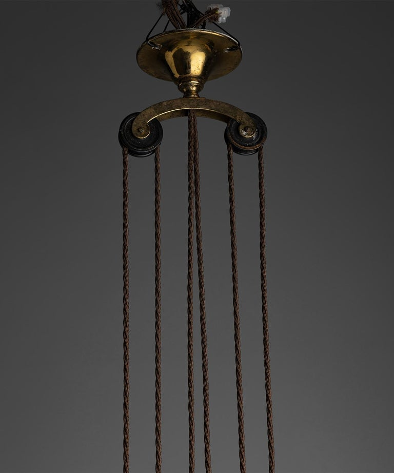 Rise & Fall Gilt Brass Chandeliers, England, circa 1910 In Good Condition For Sale In Culver City, CA