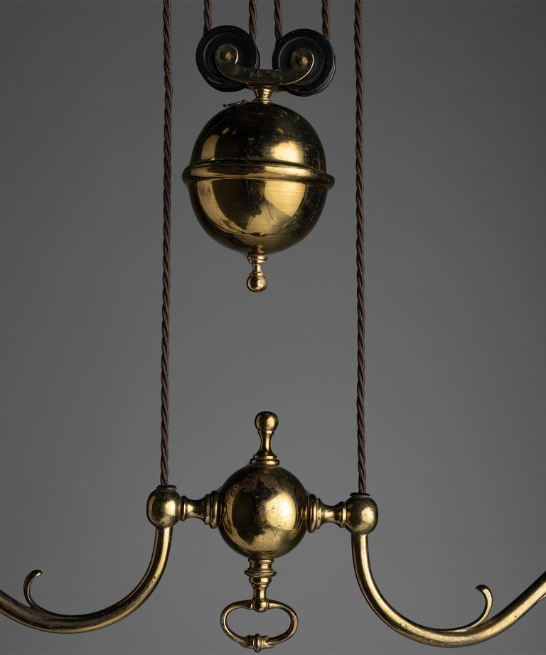 Early 20th Century Rise & Fall Gilt Brass Chandeliers, England, circa 1910 For Sale