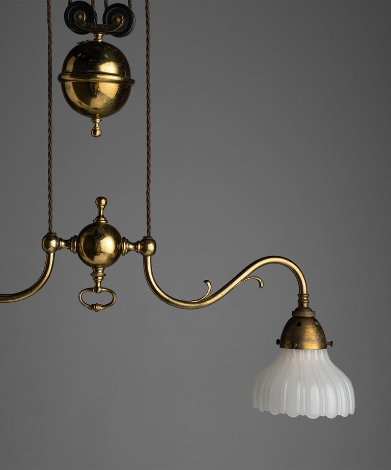 Rise & Fall Gilt Brass Chandeliers, England, circa 1910 For Sale 1