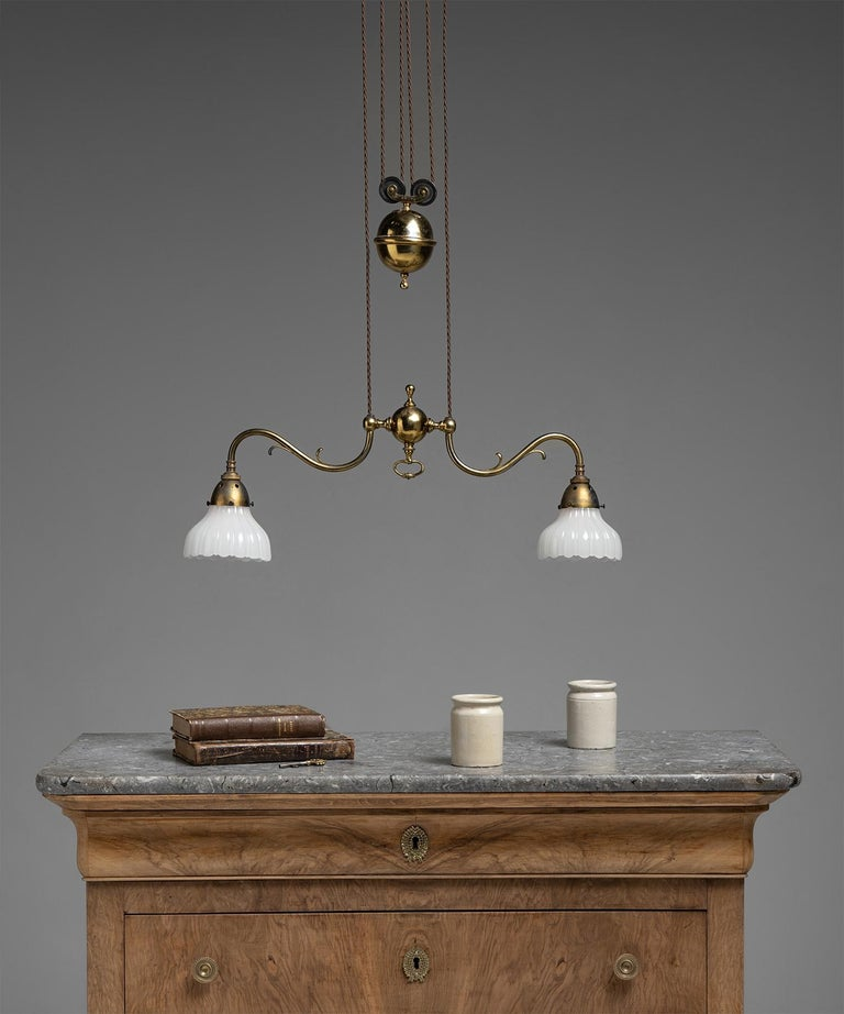 Rise & Fall Gilt Brass Chandeliers, England, circa 1910 For Sale 2