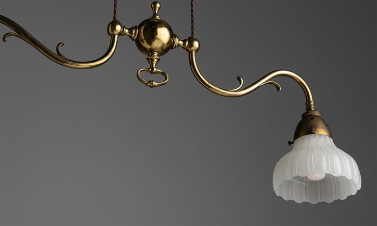 Rise & Fall Gilt Brass Chandeliers, England, circa 1910 For Sale 4