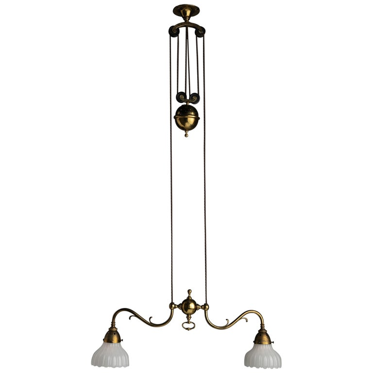 Rise & Fall Gilt Brass Chandeliers, England, circa 1910 For Sale