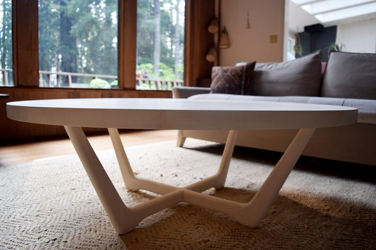 Rise Modern Coffee Table in Bleached Maple with Sculpted Base In New Condition For Sale In Mendocino, CA