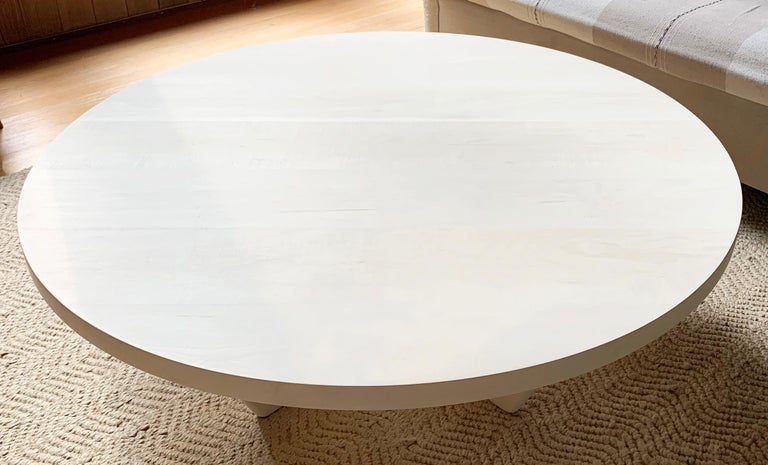 Contemporary Rise Modern Coffee Table in Bleached Maple with Sculpted Base For Sale
