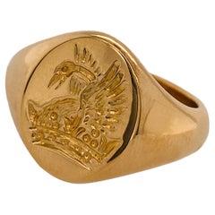 Rising Phoenix Signet Ring in 22 Carat Yellow Gold