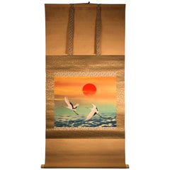"""Rising Sun and Two Cranes"" Japanese Fine Hand Painted Silk Scroll, Small Size"