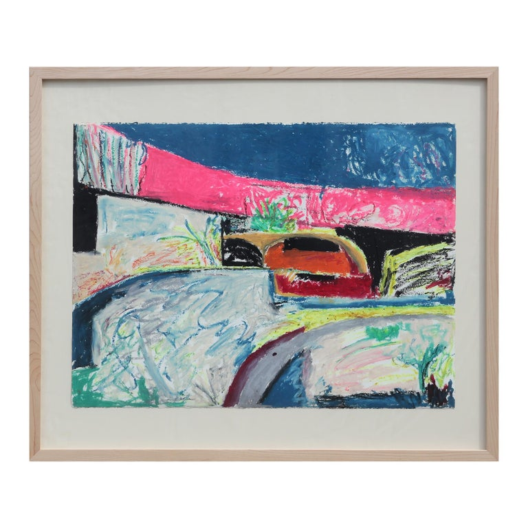 Abstract colorful blue and pink pastel Texas landscape painting made with cattle markers by artist, Rita Blasser. Signed by the artist in the bottom left corner. The piece is displayed floating behind glass in a natural light wood frame.