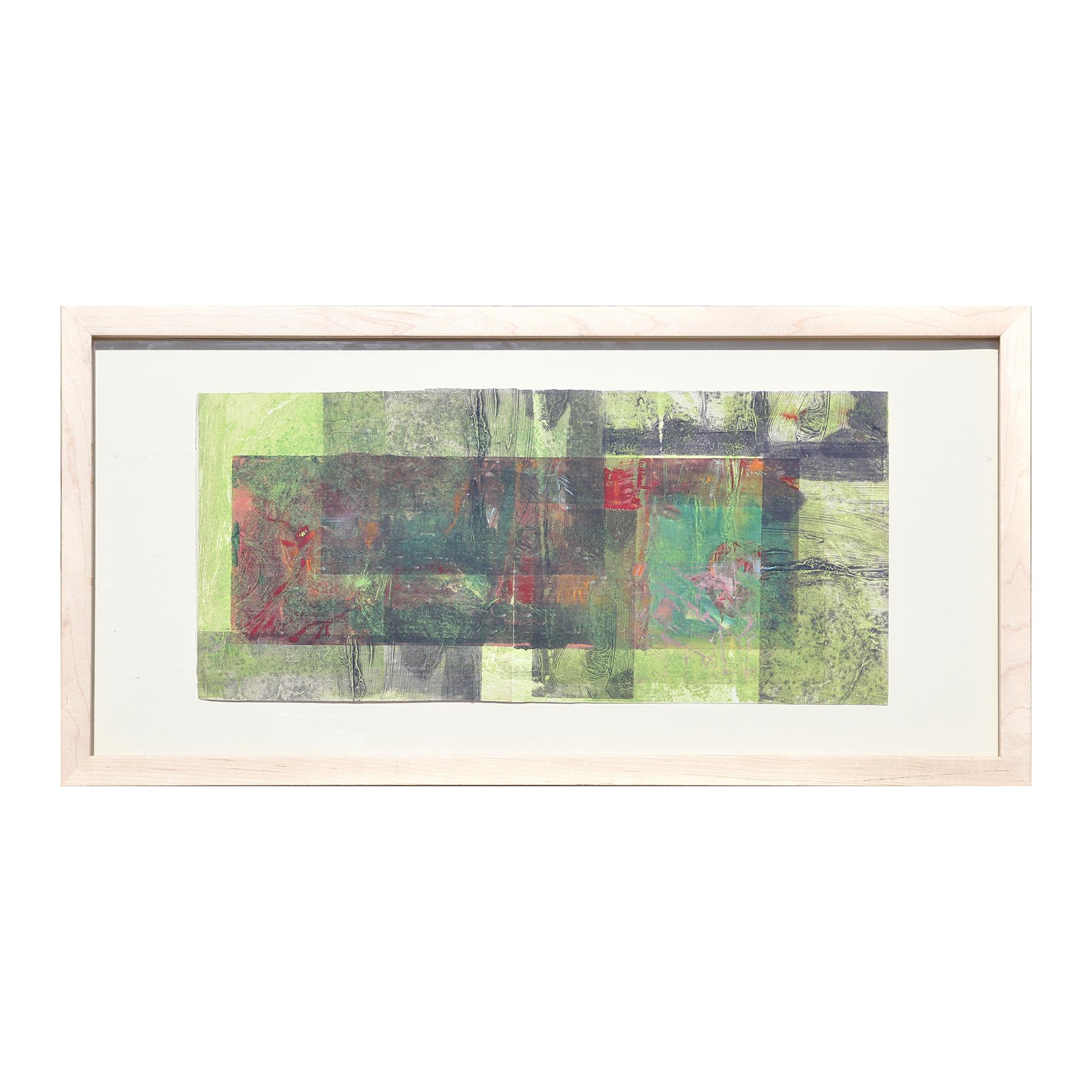 """""""Untitled R43 0387"""" Abstract Green, Red, and Grey Toned Mixed Media Painting"""