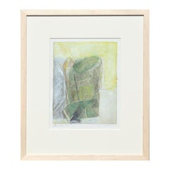 """""""Study - Paper Bag"""" Abstract Green and Neutral Toned Print"""