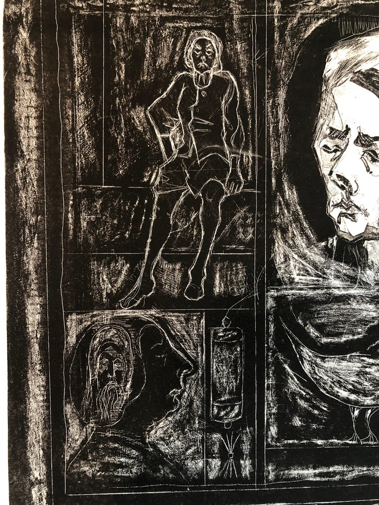Figural Abstract Mid Century Modern Lithograph Portraits, Judaica, Jewish Print For Sale 2