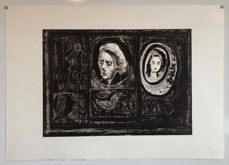 Figural Abstract Mid Century Modern Lithograph Portraits, Judaica, Jewish Print For Sale 3