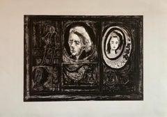 Figural Abstract Mid Century Modern Lithograph Portraits, Judaica, Jewish Print
