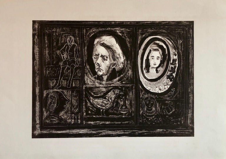 Rita Gombinski Figurative Print - Figural Abstract Mid Century Modern Lithograph Portraits, Judaica, Jewish Print