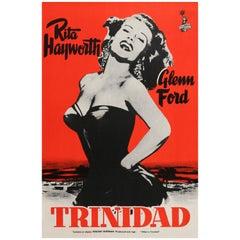 "Rita Hayworth ""Affair in Trinidad"" Original Vintage Movie Poster, Finnish, 1952"
